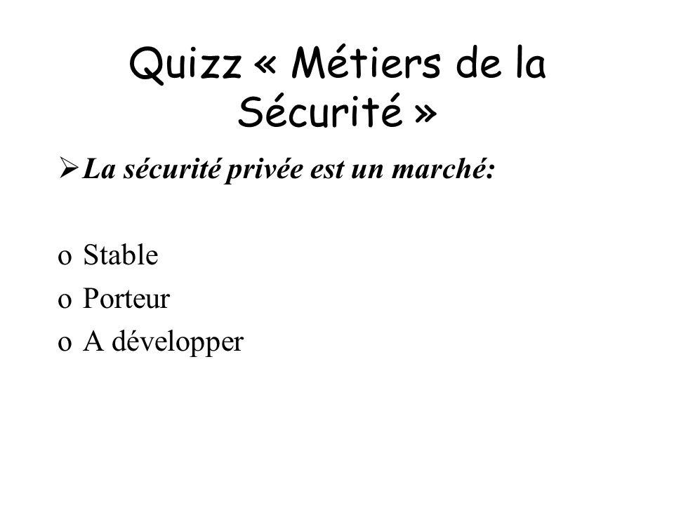 Quizz « Métiers de la Sécurité » La sécurité privée est un marché: oStable oPorteur oA développer
