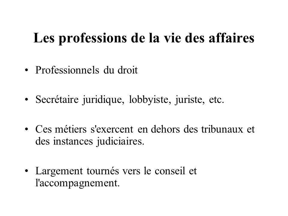 Les professions de la vie des affaires Professionnels du droit Secrétaire juridique, lobbyiste, juriste, etc. Ces métiers s'exercent en dehors des tri