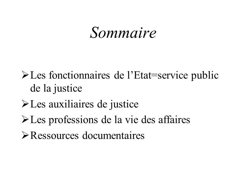 Sommaire Les fonctionnaires de lEtat=service public de la justice Les auxiliaires de justice Les professions de la vie des affaires Ressources documen