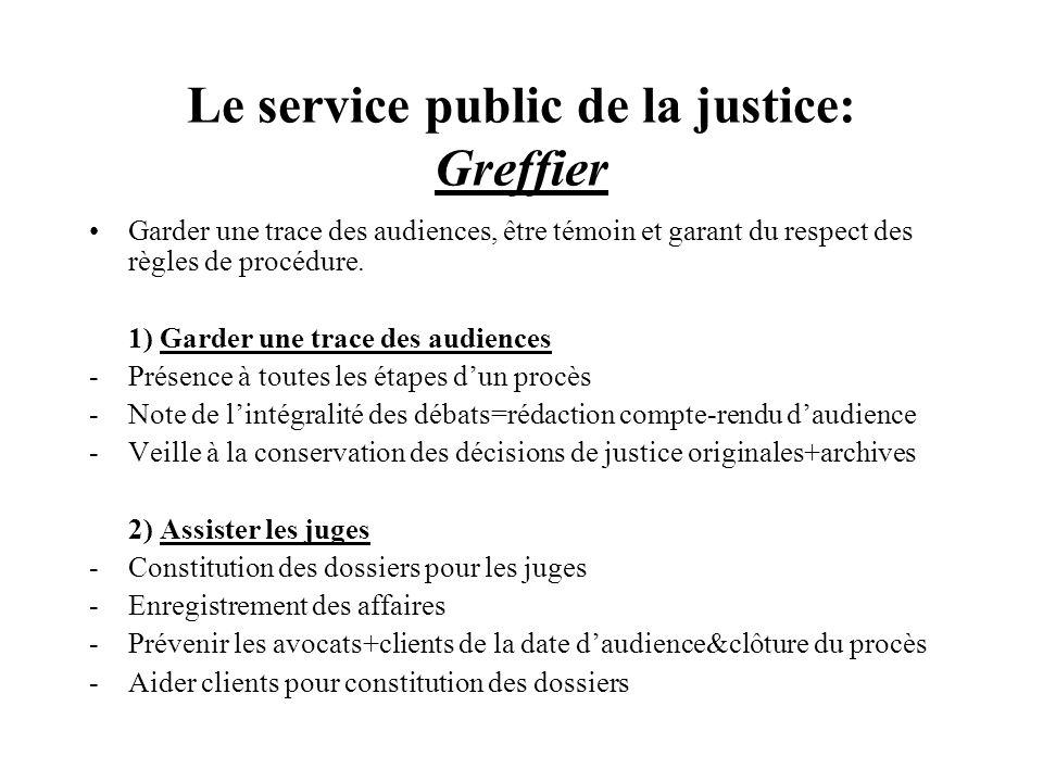 Le service public de la justice: Greffier Garder une trace des audiences, être témoin et garant du respect des règles de procédure. 1) Garder une trac