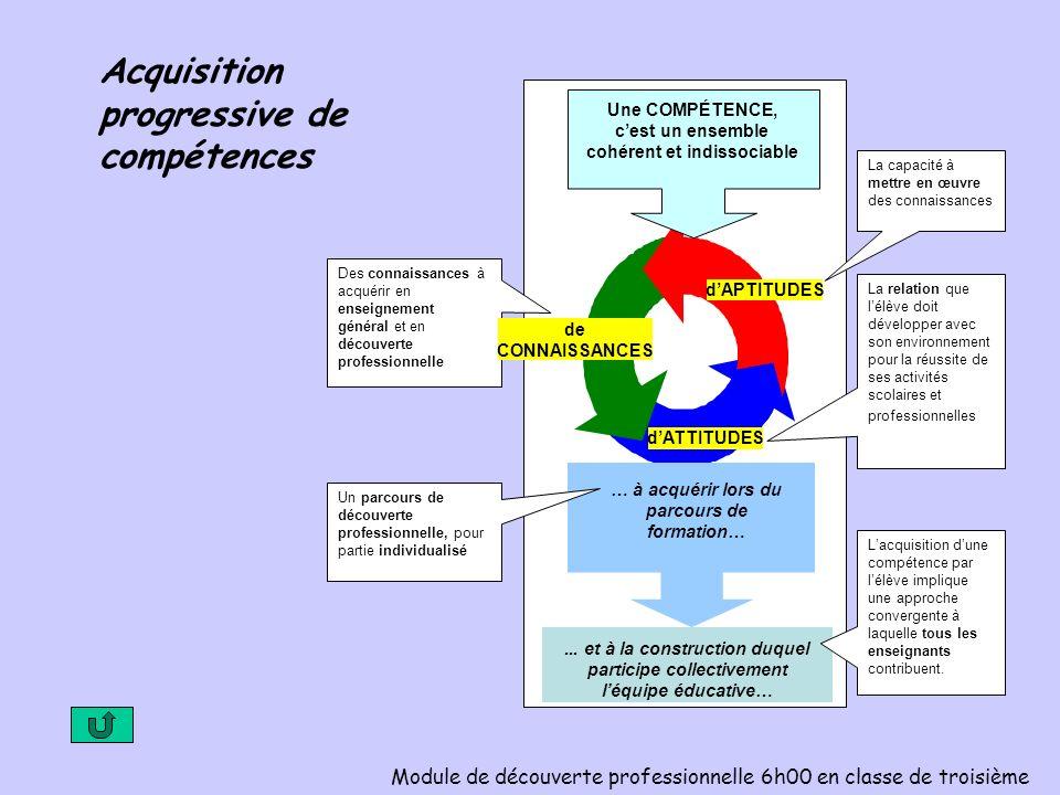 Acquisition progressive de compétences Module de découverte professionnelle 6h00 en classe de troisième La capacité à mettre en œuvre des connaissance