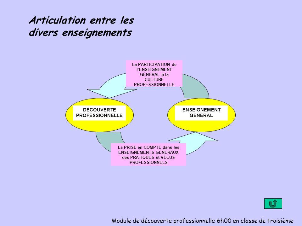 La PARTICIPATION de lENSEIGNEMENT GÉNÉRAL à la CULTURE PROFESSIONNELLE La PRISE en COMPTE dans les ENSEIGNEMENTS GÉNÉRAUX des PRATIQUES et VÉCUS PROFESSIONNELS DÉCOUVERTE PROFESSIONNELLE ENSEIGNEMENT GÉNÉRAL Articulation entre les divers enseignements Module de découverte professionnelle 6h00 en classe de troisième
