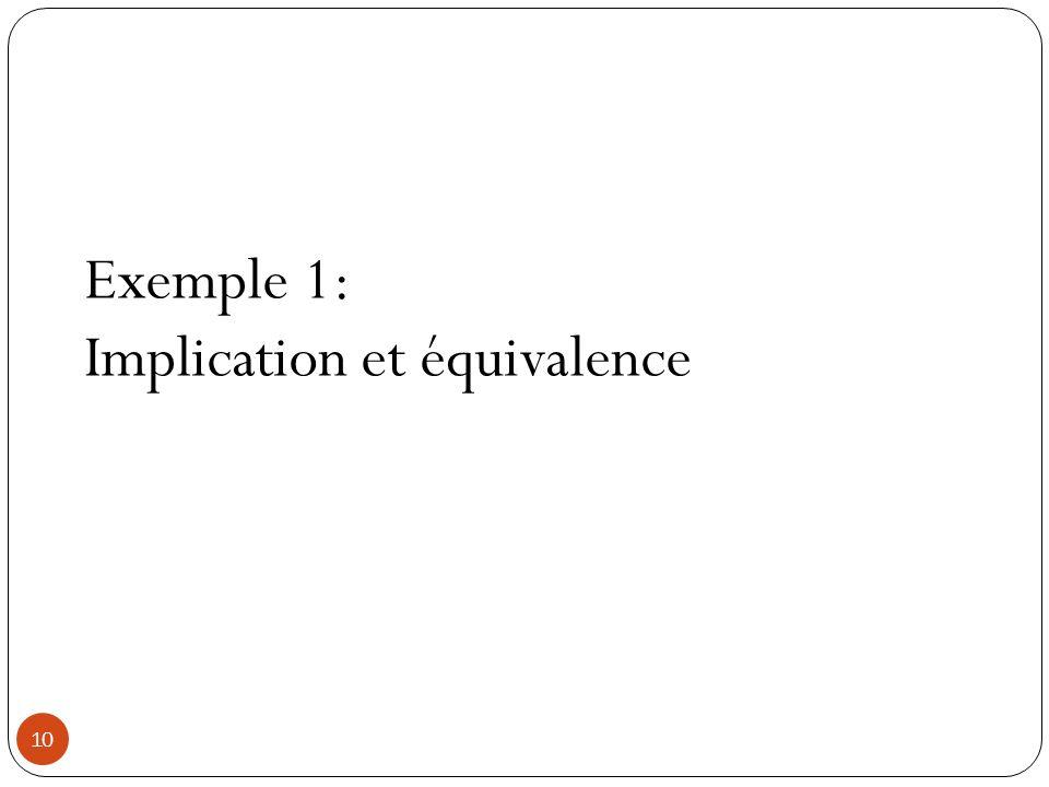 10 Exemple 1: Implication et équivalence