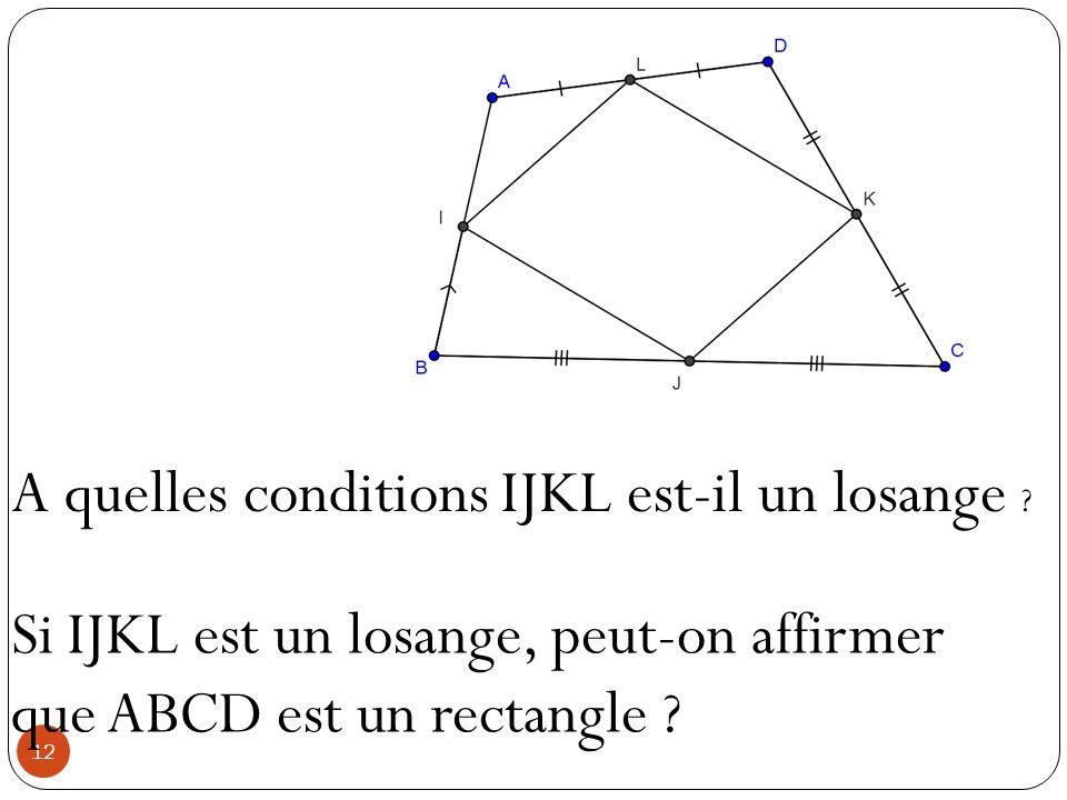 12 A quelles conditions IJKL est-il un losange ? Si IJKL est un losange, peut-on affirmer que ABCD est un rectangle ?