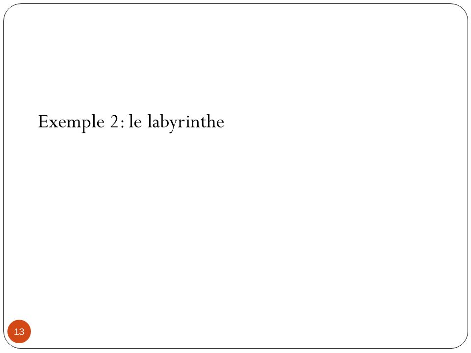 13 Exemple 2: le labyrinthe