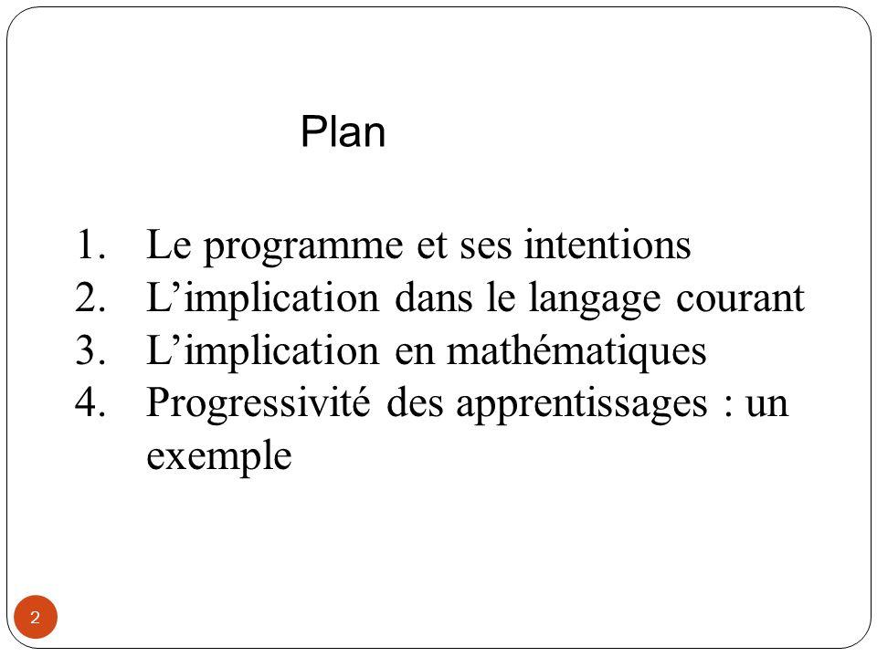 2 1.Le programme et ses intentions 2.Limplication dans le langage courant 3.Limplication en mathématiques 4.Progressivité des apprentissages : un exem