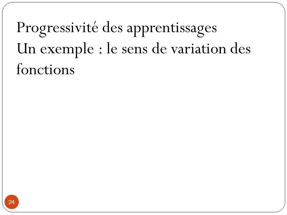 24 Progressivité des apprentissages Un exemple : le sens de variation des fonctions