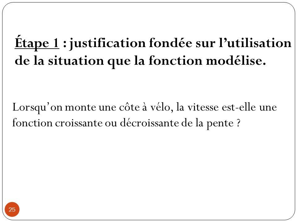 25 Étape 1 : justification fondée sur lutilisation de la situation que la fonction modélise. Lorsquon monte une côte à vélo, la vitesse est-elle une f