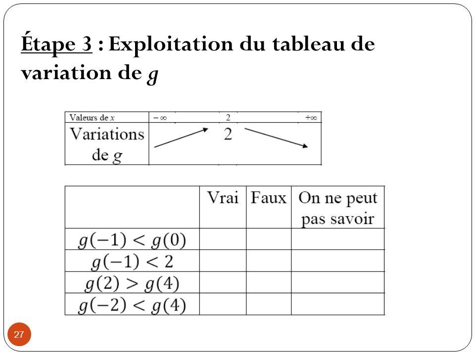 27 Étape 3 : Exploitation du tableau de variation de g