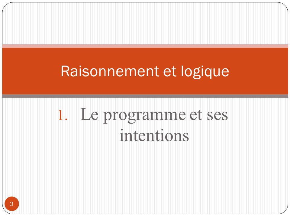 3 1. Le programme et ses intentions Raisonnement et logique