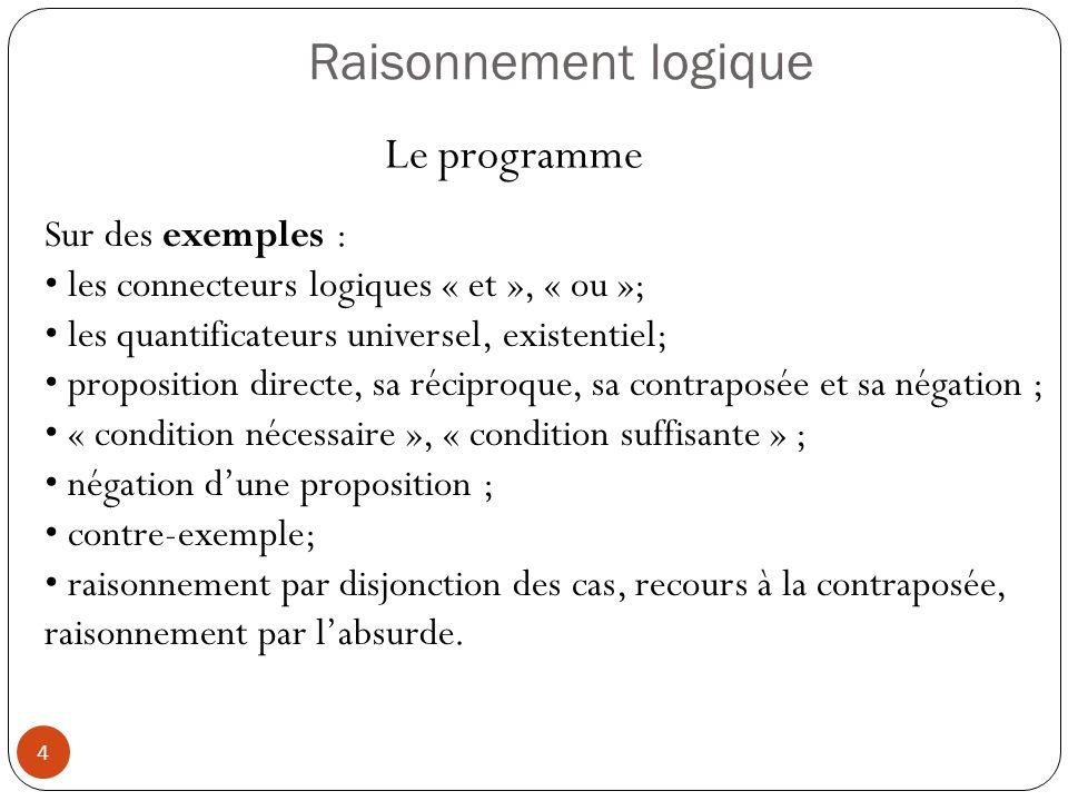 4 Raisonnement logique Sur des exemples : les connecteurs logiques « et », « ou »; les quantificateurs universel, existentiel; proposition directe, sa