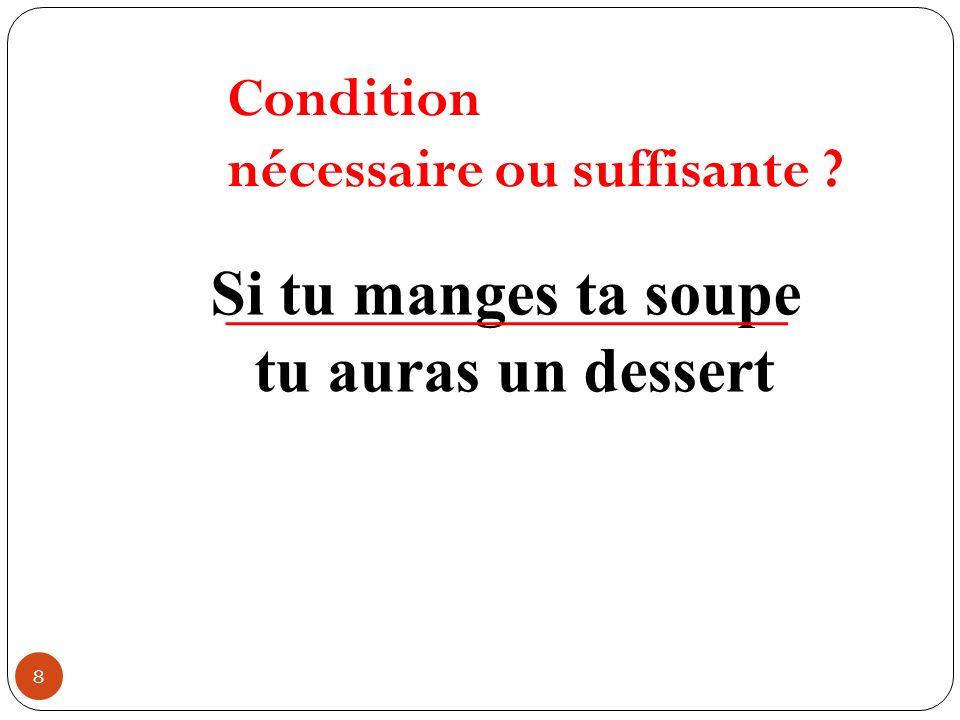 8 Si tu manges ta soupe tu auras un dessert Condition nécessaire ou suffisante ?