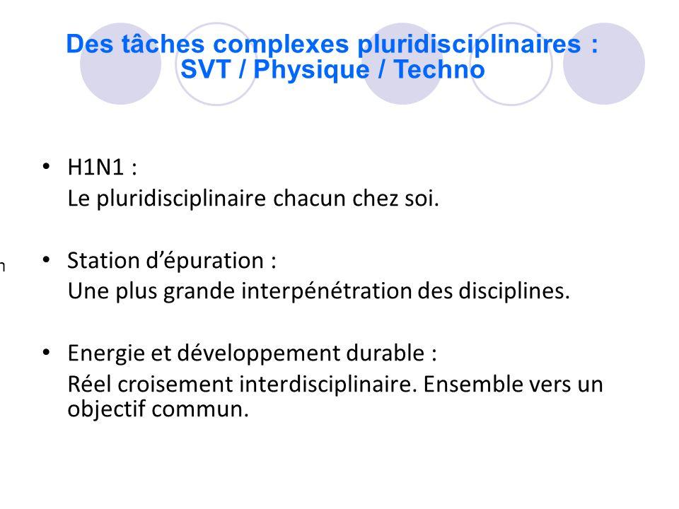 Des tâches complexes pluridisciplinaires : SVT / Physique / Techno H1N1 : Le pluridisciplinaire chacun chez soi. Station dépuration : Une plus grande