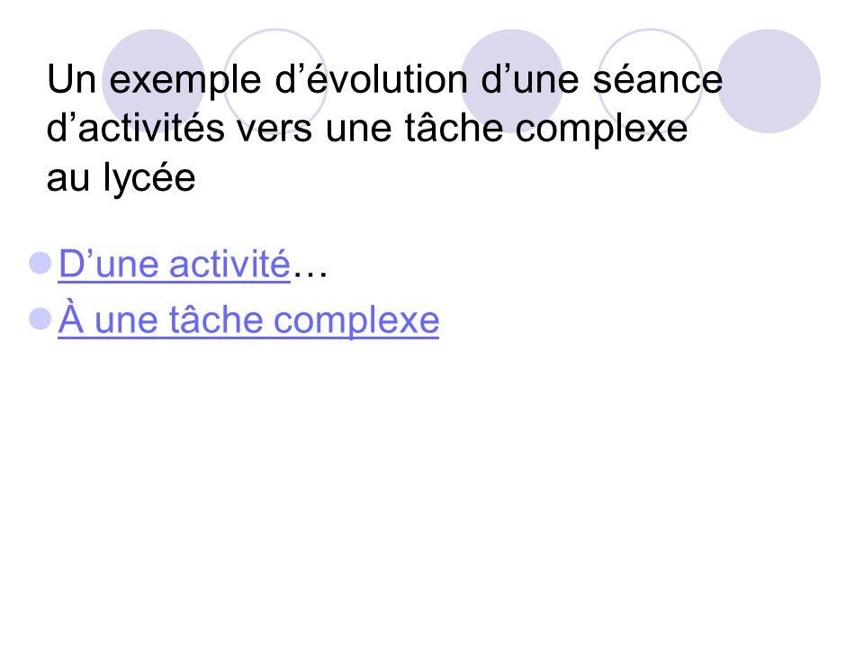 Un exemple dévolution dune séance dactivités vers une tâche complexe au lycée Dune activité… Dune activité À une tâche complexe