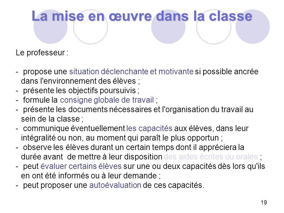 19 La mise en œuvre dans la classe Le professeur : - propose une situation déclenchante et motivante si possible ancrée dans l'environnement des élève