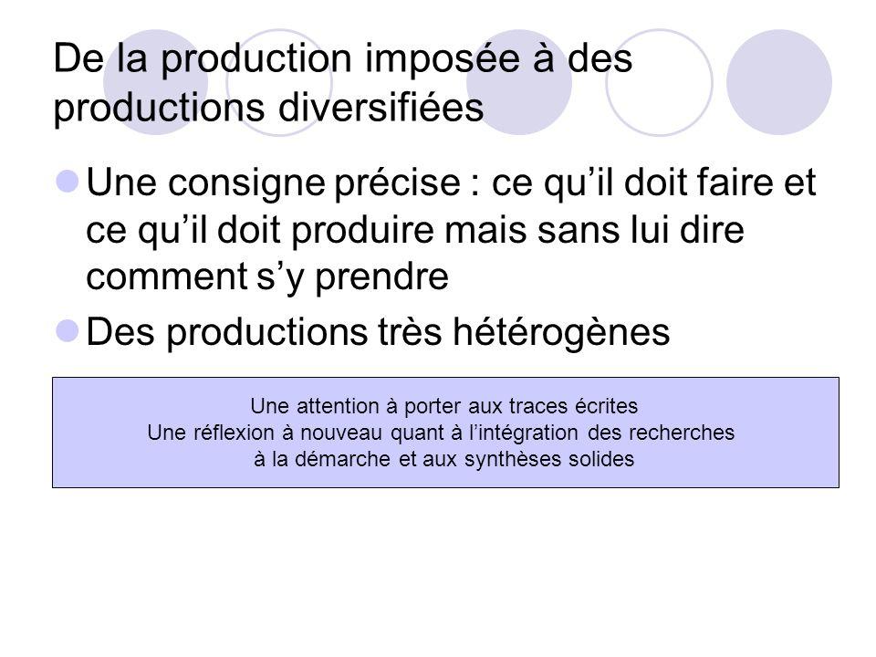 De la production imposée à des productions diversifiées Une consigne précise : ce quil doit faire et ce quil doit produire mais sans lui dire comment