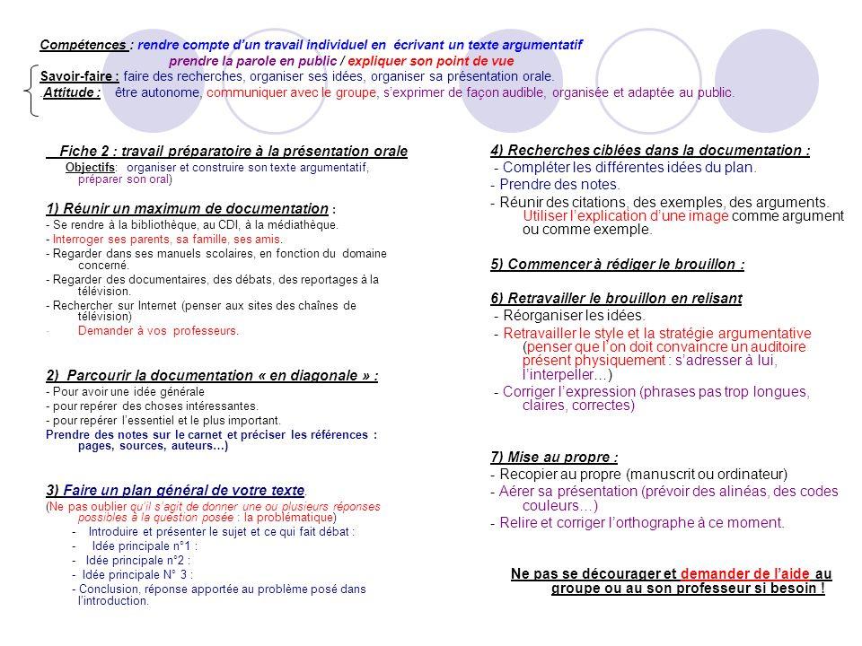 Compétences : rendre compte dun travail individuel en écrivant un texte argumentatif prendre la parole en public / expliquer son point de vue Savoir-f