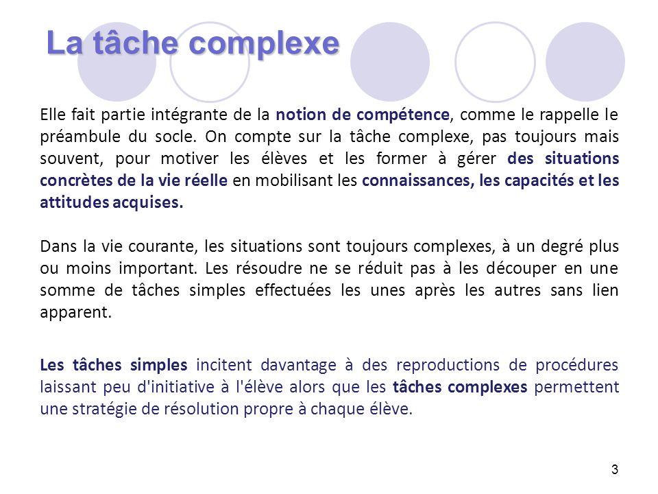 La tâche complexe 3 Elle fait partie intégrante de la notion de compétence, comme le rappelle le préambule du socle. On compte sur la tâche complexe,