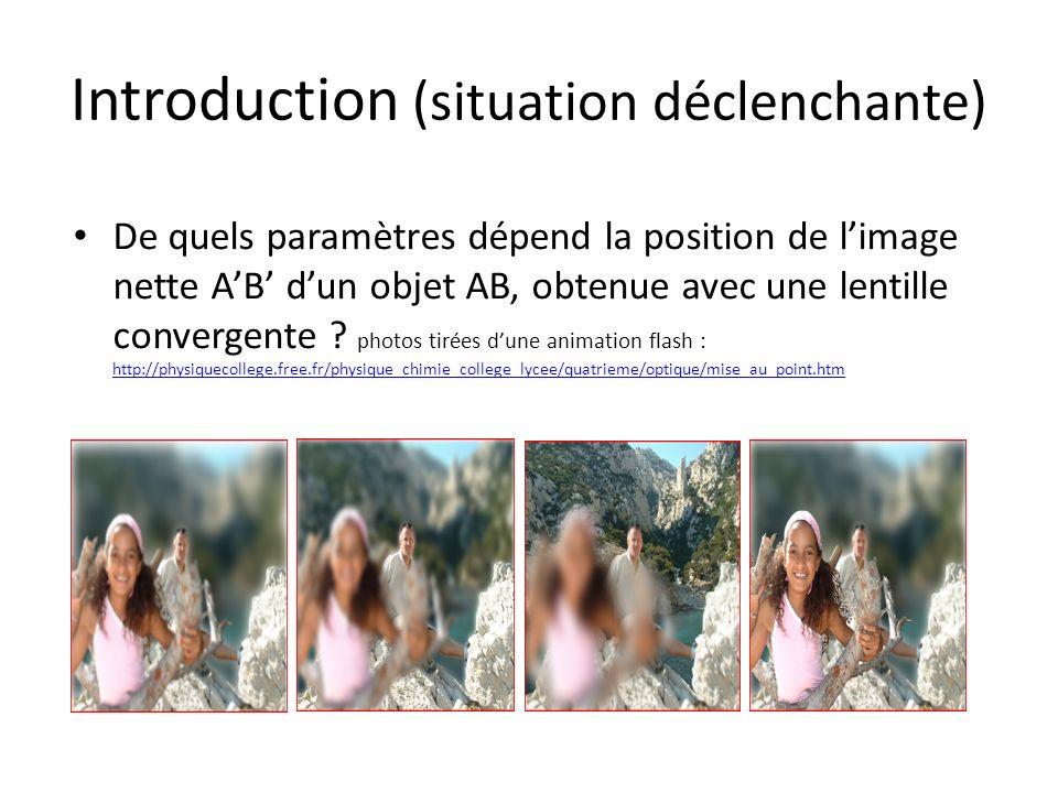 Introduction (situation déclenchante) De quels paramètres dépend la position de limage nette AB dun objet AB, obtenue avec une lentille convergente ?