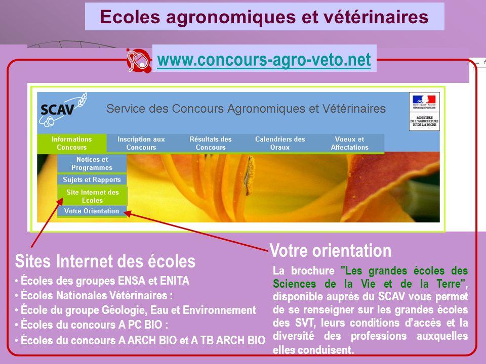 Ecoles agronomiques et vétérinaires www.concours-agro-veto.net Sites Internet des écoles Votre orientation La brochure