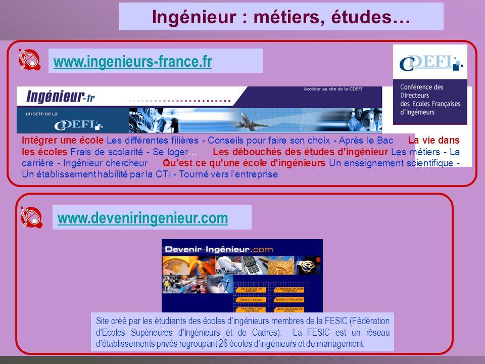 www.ingenieurs-france.fr Intégrer une école Les différentes filières - Conseils pour faire son choix - Après le Bac La vie dans les écoles Frais de sc