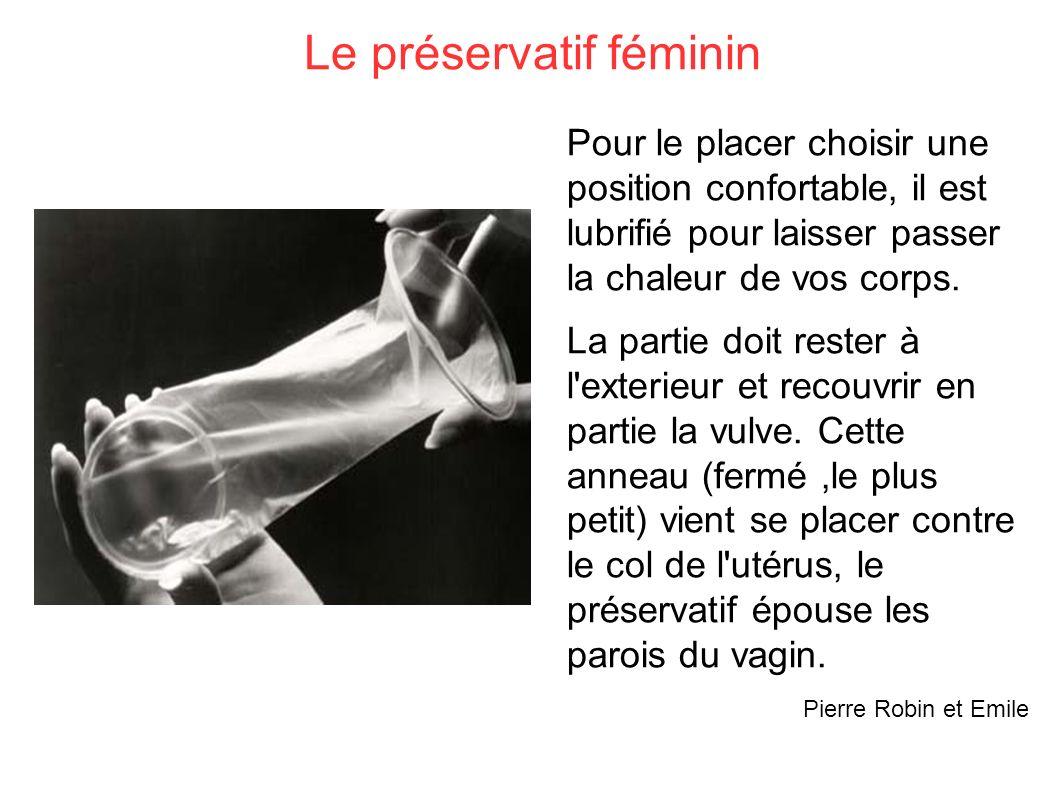 Le préservatif féminin Pour le placer choisir une position confortable, il est lubrifié pour laisser passer la chaleur de vos corps. La partie doit re