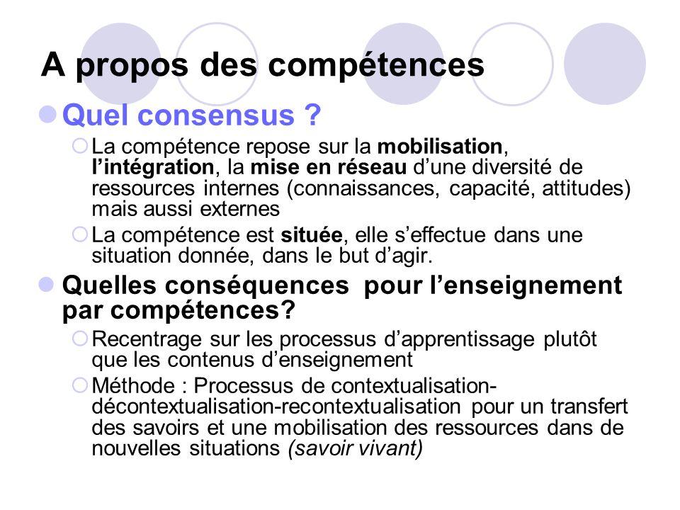 A propos des compétences Quelles définitions ? Connaissance (savoir) : elle peut être nommée ou écrite (notion, règle, outil, fonctionnement,…). Cest