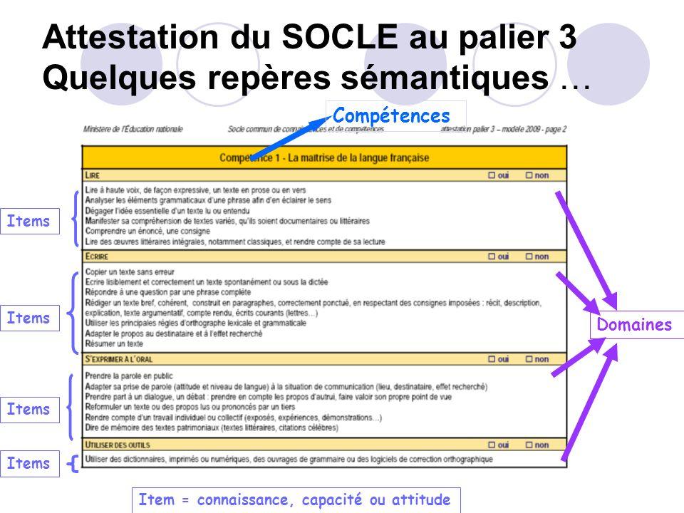 Le socle commun de compétences 7 compétences déclinées en connaissances, capacités, attitudes La maîtrise de la langue française La maîtrise dune lang