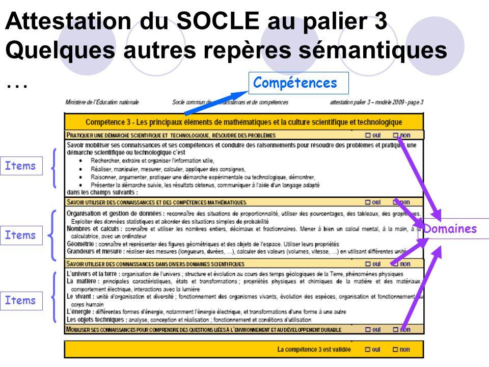 Attestation du SOCLE au palier 3 Quelques repères sémantiques … Compétences Domaines Items Item = connaissance, capacité ou attitude