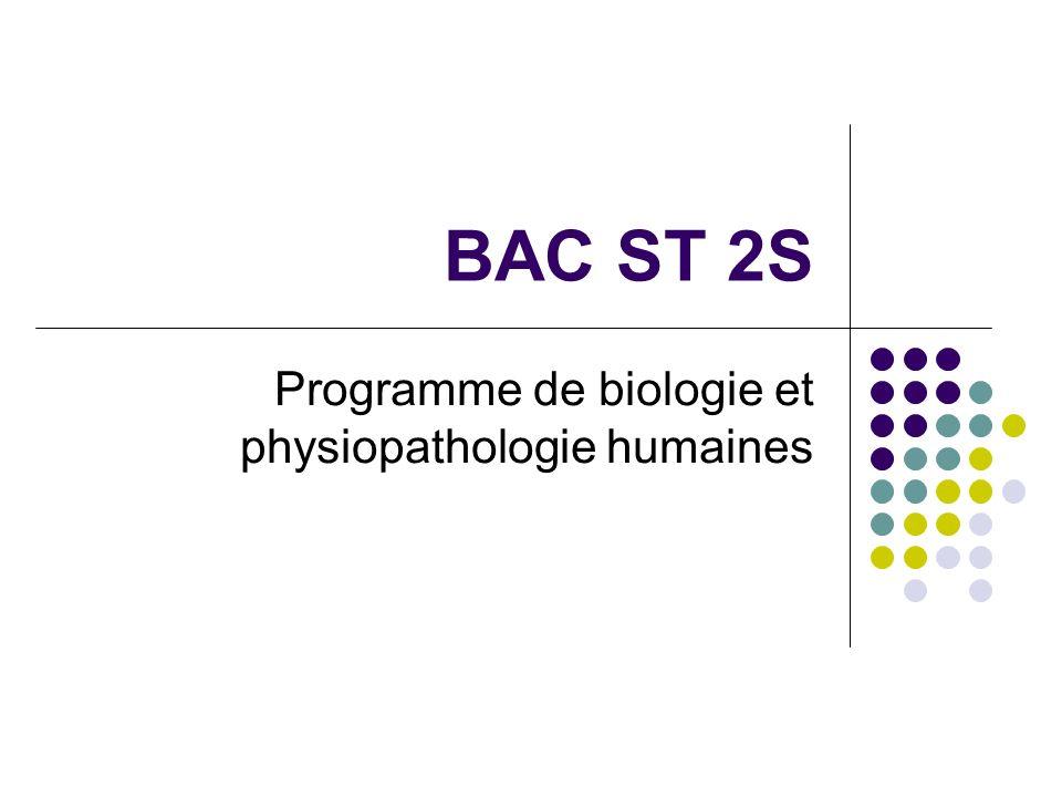 BAC ST 2S Programme de biologie et physiopathologie humaines
