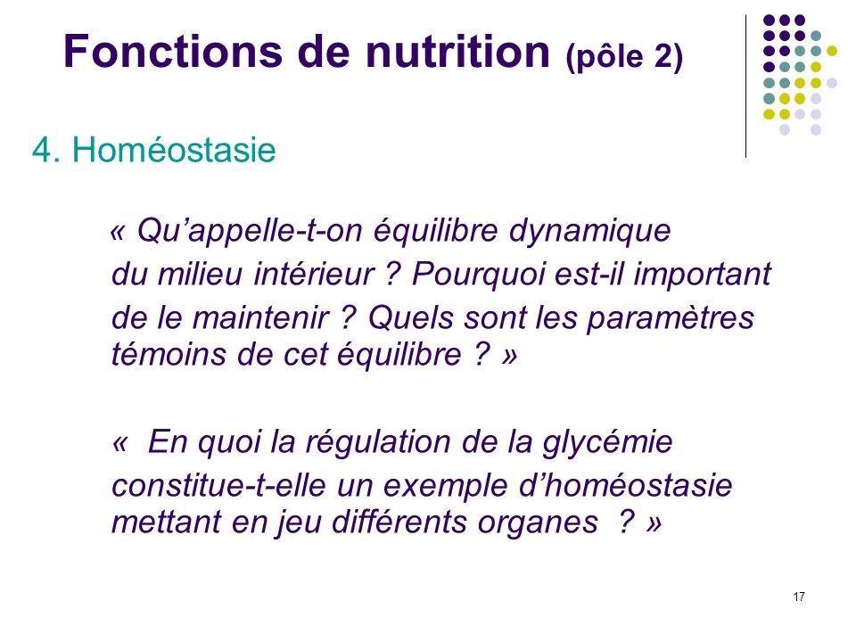 17 Fonctions de nutrition (pôle 2) 4. Homéostasie « Quappelle-t-on équilibre dynamique du milieu intérieur ? Pourquoi est-il important de le maintenir