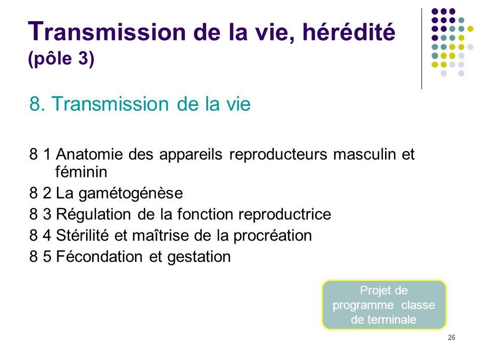 26 T ransmission de la vie, hérédité (pôle 3) 8. Transmission de la vie 8 1 Anatomie des appareils reproducteurs masculin et féminin 8 2 La gamétogénè