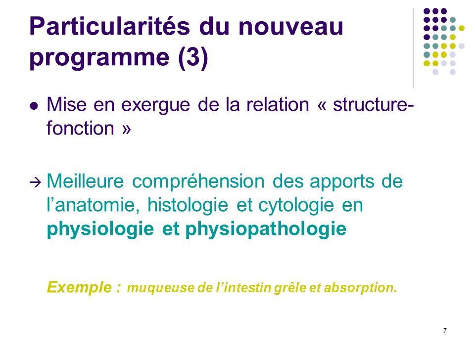 7 Particularités du nouveau programme (3) Mise en exergue de la relation « structure- fonction » Meilleure compréhension des apports de lanatomie, his