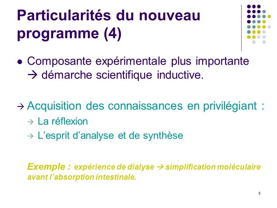 8 Particularités du nouveau programme (4) Composante expérimentale plus importante démarche scientifique inductive. Acquisition des connaissances en p