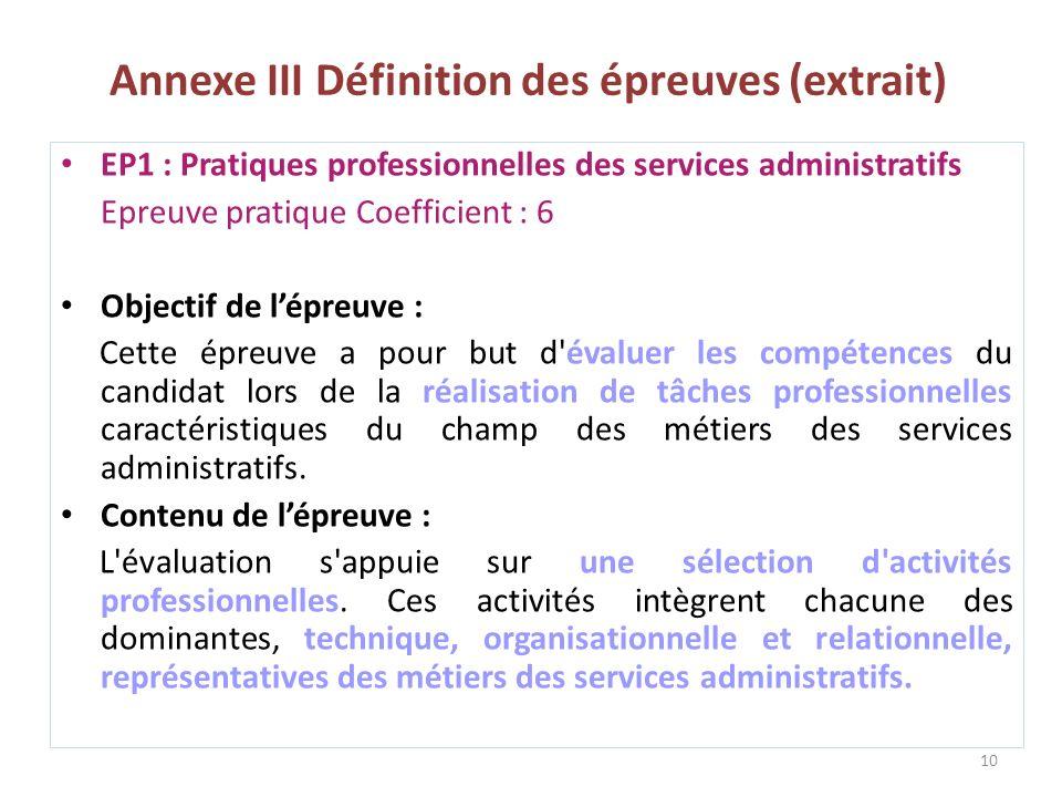 Annexe III Définition des épreuves (extrait) 10 EP1 : Pratiques professionnelles des services administratifs Epreuve pratique Coefficient : 6 Objectif