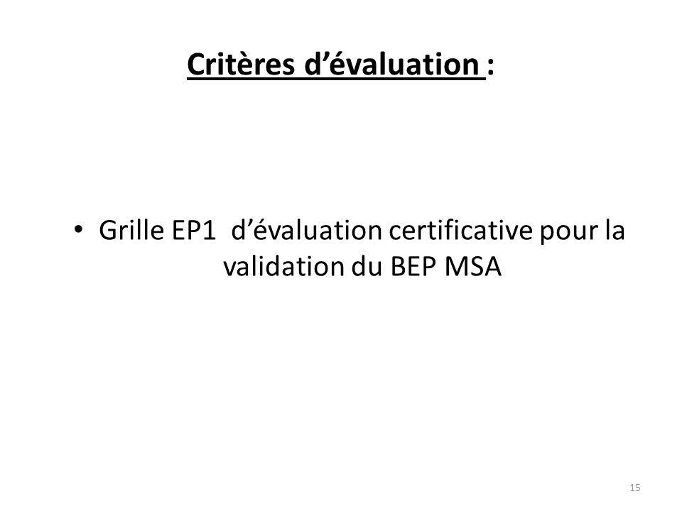 Critères dévaluation : Grille EP1 dévaluation certificative pour la validation du BEP MSA 15