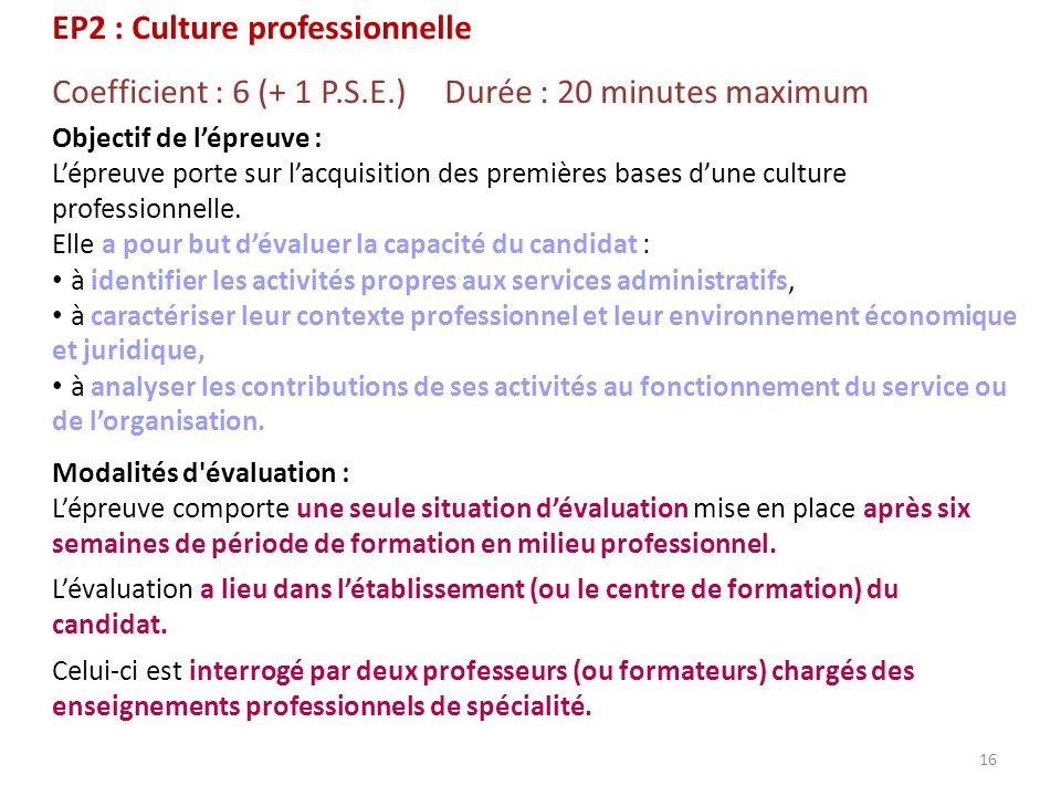 EP2 : Culture professionnelle Coefficient : 6 (+ 1 P.S.E.) Durée : 20 minutes maximum Objectif de lépreuve : Lépreuve porte sur lacquisition des premi