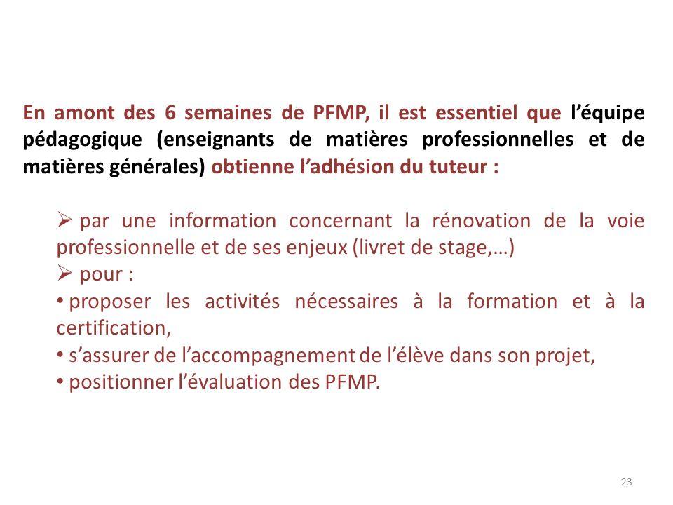 En amont des 6 semaines de PFMP, il est essentiel que léquipe pédagogique (enseignants de matières professionnelles et de matières générales) obtienne