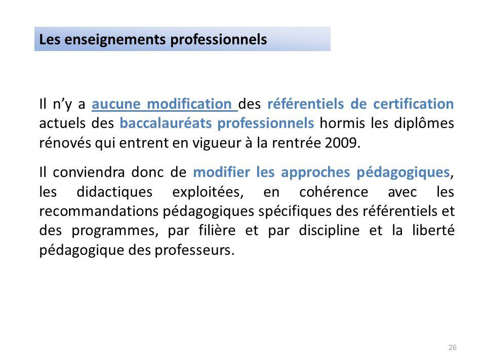 Il ny a aucune modification des référentiels de certification actuels des baccalauréats professionnels hormis les diplômes rénovés qui entrent en vigu