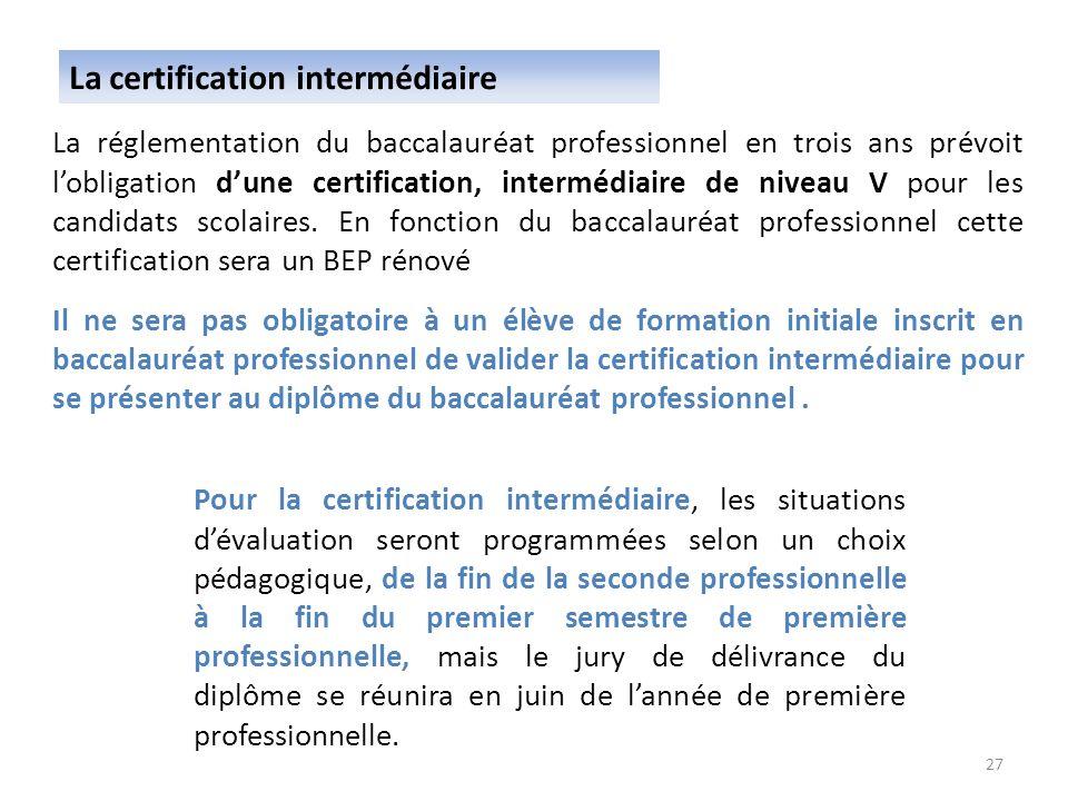 La réglementation du baccalauréat professionnel en trois ans prévoit lobligation dune certification, intermédiaire de niveau V pour les candidats scol