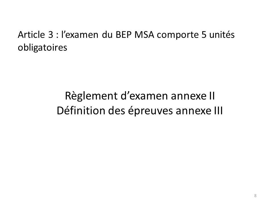 Article 3 : lexamen du BEP MSA comporte 5 unités obligatoires Règlement dexamen annexe II Définition des épreuves annexe III 8