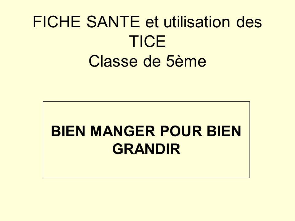 FICHE SANTE et utilisation des TICE Classe de 5ème BIEN MANGER POUR BIEN GRANDIR
