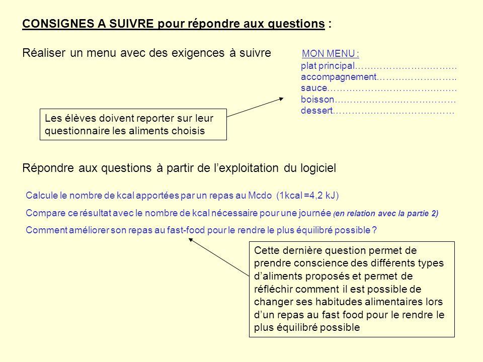 CONSIGNES A SUIVRE pour répondre aux questions : Réaliser un menu avec des exigences à suivre MON MENU : plat principal…………………………… accompagnement……………
