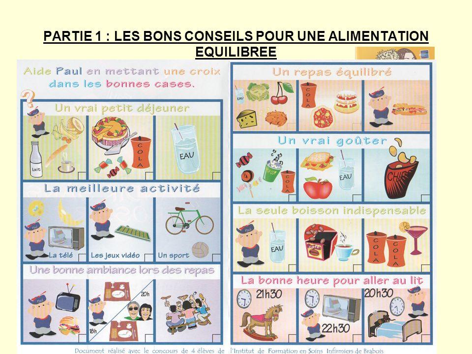 PARTIE 2 : Les besoins alimentaires dun enfant de 5ème Support :documents du manuel Objectifs : analyser et comprendre des documents pour en tirer une information
