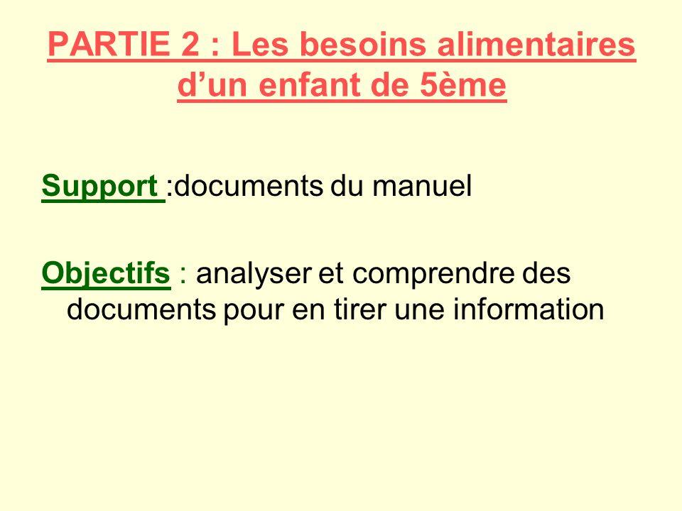PARTIE 2 : Les besoins alimentaires dun enfant de 5ème Support :documents du manuel Objectifs : analyser et comprendre des documents pour en tirer une