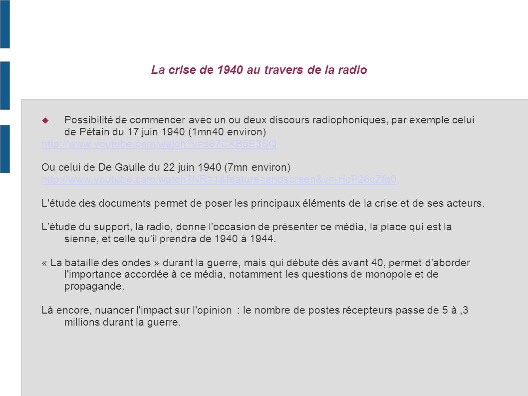 Mai 1968 à la télévision Possibilité de partir d une ou deux allocutions télévisées, par ex le discours De Gaulle du 24 mai 1968 http://www.youtube.com/watch?v=wUrlkrdcuIU&feature=related Ou les voeux, toujours de De Gaulle, du 31 décembre 1968 (tb passage sur sa lecture de mai 68 vers la 3ème minute) http://www.youtube.com/watch?v=CO0aHs1_9rE&feature=related Ou dimages de mai 68, par ex la contestation : La semaine des barricades du 6 au 13 mai 1968 vue par les Actualités Françaises http://www.youtube.com/watch?v=BcDCsCGdOm4 Létude du document permet de replacer les principaux éléments de la crise de mai 1968, les acteurs, le contexte.