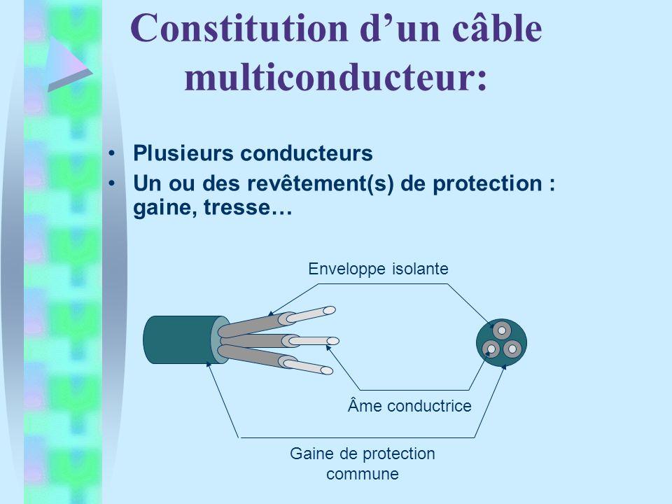Constitution dun câble multiconducteur: Plusieurs conducteurs Un ou des revêtement(s) de protection : gaine, tresse… Enveloppe isolante Âme conductrice Gaine de protection commune