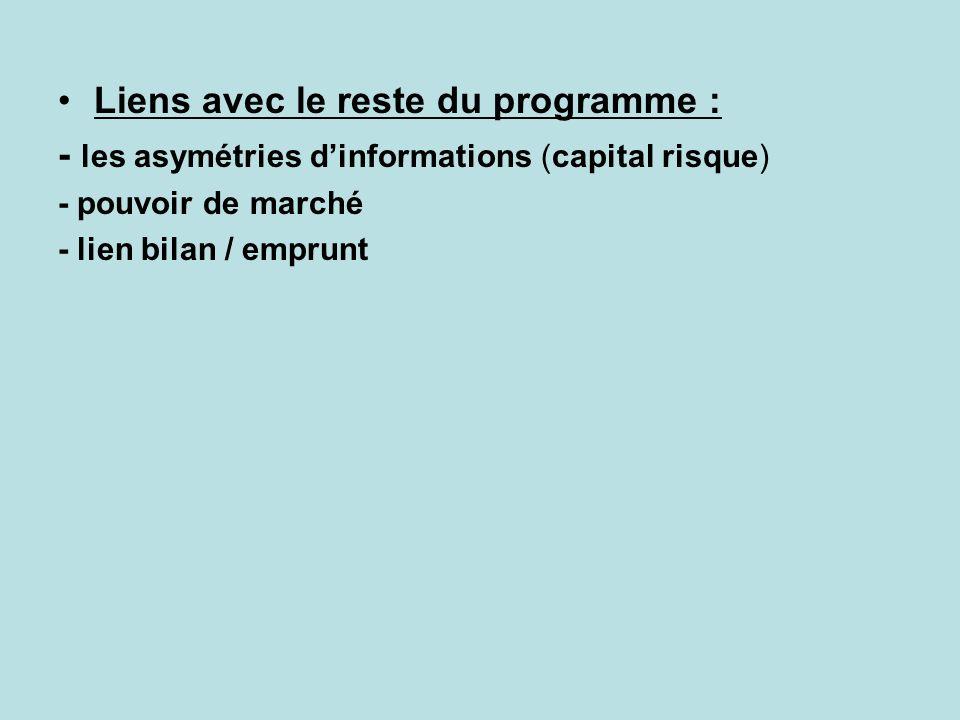 Liens avec le reste du programme : - les asymétries dinformations (capital risque) - pouvoir de marché - lien bilan / emprunt