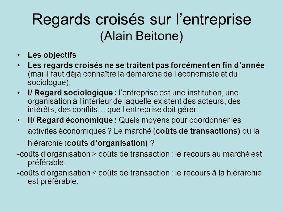 Regards croisés sur lentreprise (Alain Beitone) Les objectifs Les regards croisés ne se traitent pas forcément en fin dannée (mai il faut déjà connaître la démarche de léconomiste et du sociologue).