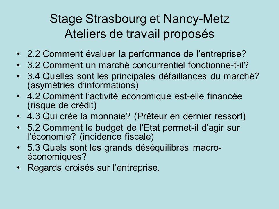 Stage Strasbourg et Nancy-Metz Ateliers de travail proposés 2.2 Comment évaluer la performance de lentreprise? 3.2 Comment un marché concurrentiel fon